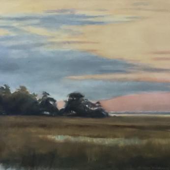 Coral_Blue_Yellow Dusk Sky Over Marsh