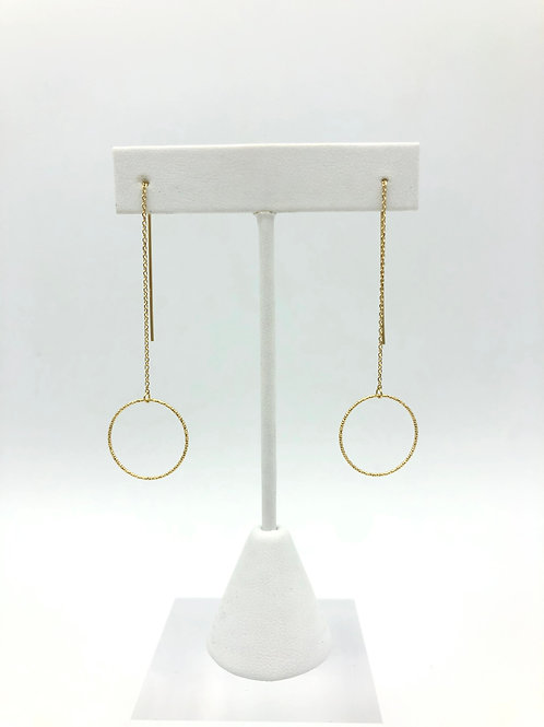 Circle with Threaded Chain Earrings