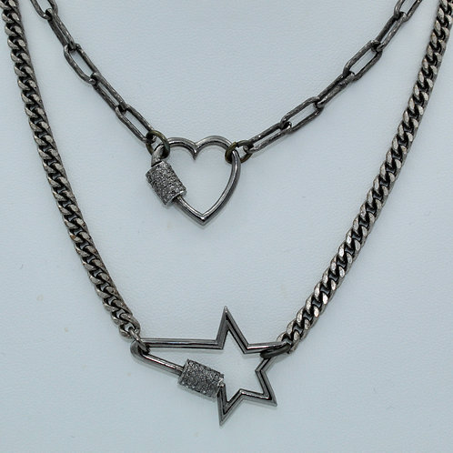 Diamond Screw Clasp Necklaces