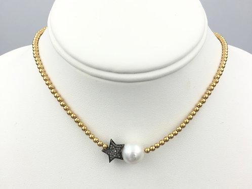 Diamond Star + Pearl on Beaded Necklace