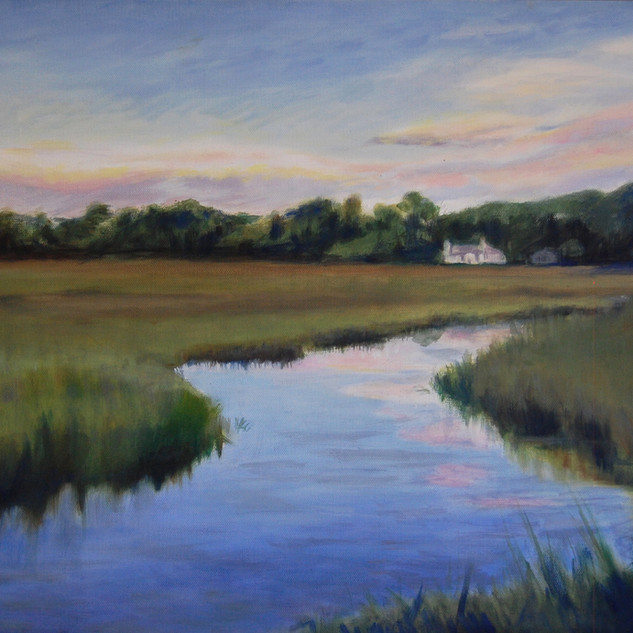 White house on marsh 16x20