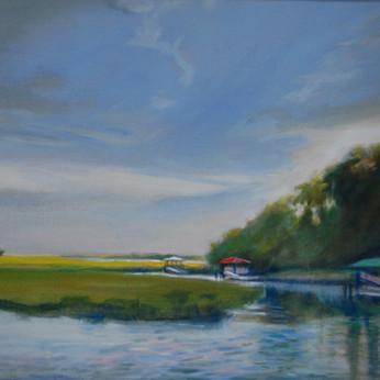 Three docks on Bradley Creek