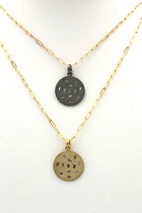 Diamond Disk Pendant Necklace