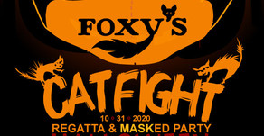 "It's a 'Mask ""R"" Ade' party and Regatta! Join us at Foxy's!"