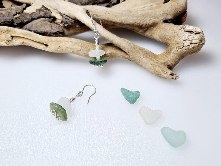 White & Green Sea Glass Dropper Earrings