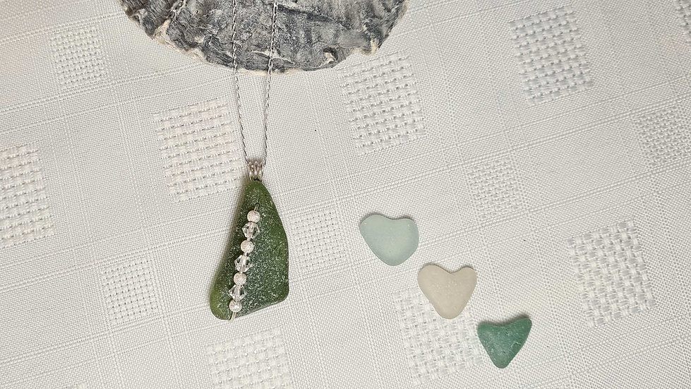 Green Sea Glass & Crystal Necklace