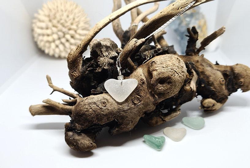White Sea Glass Heart Silver Necklace