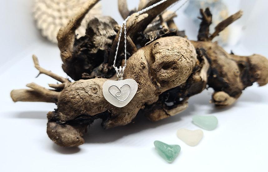 White Sea Glass Silver Heart Necklace
