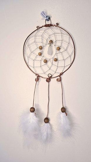 White Sea Glass & Copper Dreamcatcher