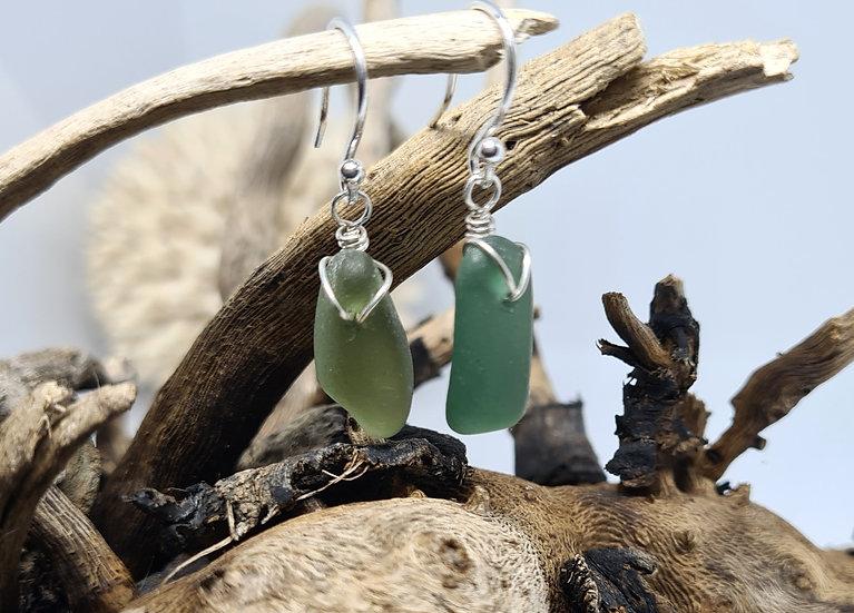 Green Sea Glass Silver Drop Earrings