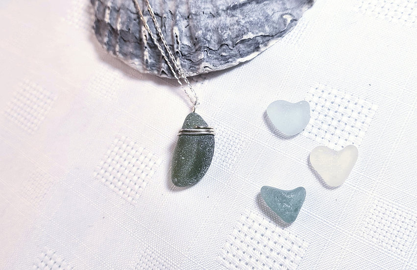 Natural Green Sea Glass Silver Necklace