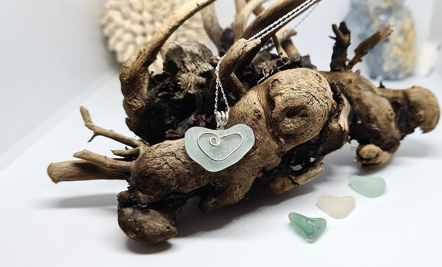 Aqua Sea Glass Natural Heart Necklace