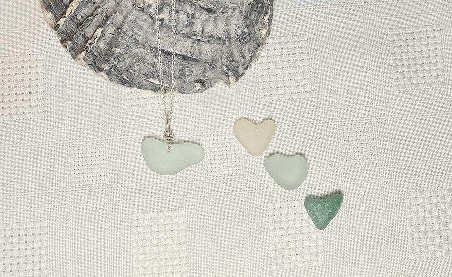 Natural Aqua Sea Glass Heart Bracelet