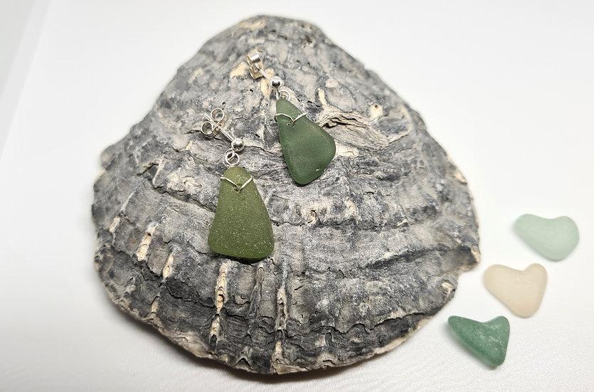 Green Sea Glass Silver Stud Earrings