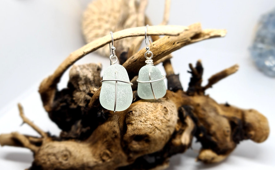 Aqua Sea Glass Silver Dropper Earrings