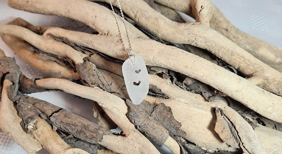 White Sea Glass Hand Carved Hearts Necklace