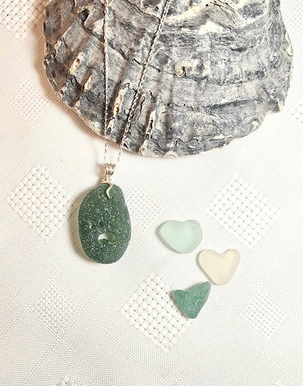Green Sea Glass Pawprint Necklace