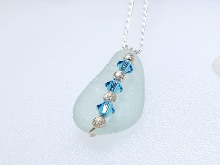 Aqua & Blue Swarovski Crystal Silver Necklace