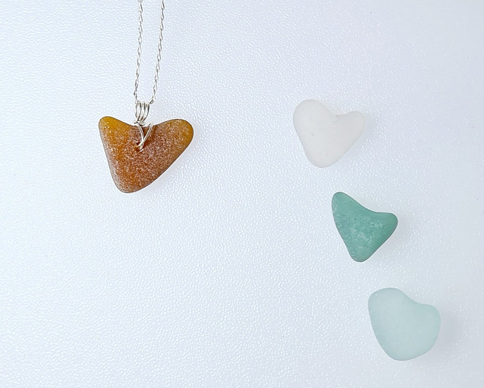 Brown Sea Glass Heart Necklace