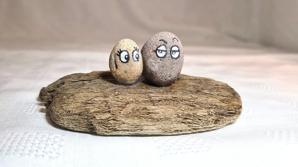 Pebble Couple on Driftwood