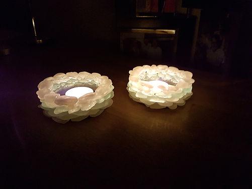 Sea Glass Tealight Holder - lit