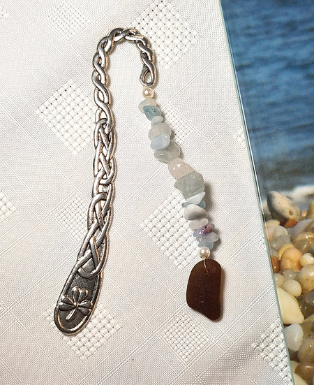 Celtic Bookmark with Aquamarine Gemstones