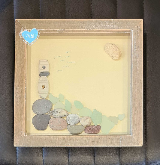 Lighthouse Pebble & Sea Glass Picture