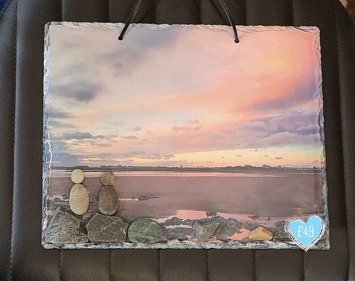 Pink Sunset Photo Art Slate