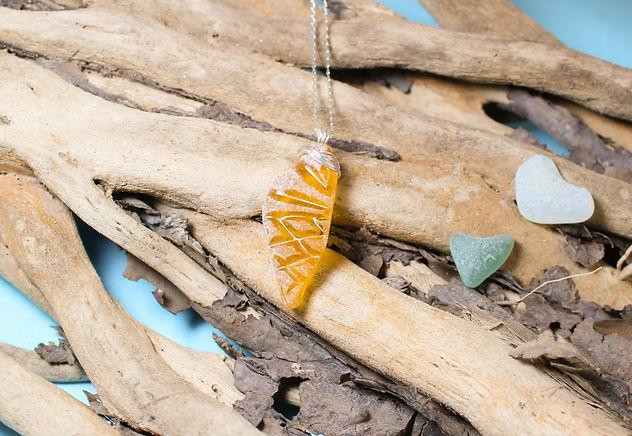 Rare Orange Sea Glass Necklace