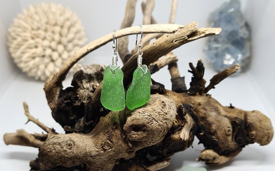 Green Sea Glass Silver Earrings
