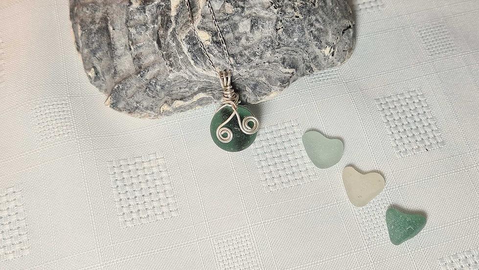 Rare Sea Glass Black Stripe Marble Necklace