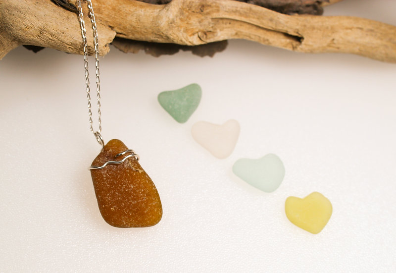 Amber Brown Sea Glass Pendant & Sterling Silver Chain