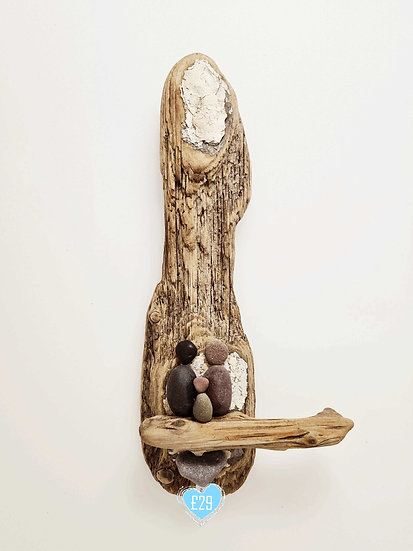 Driftwood/Pebble Family '3' Wallhanging