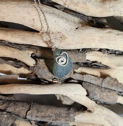 Green Sea Glass Silver Necklace