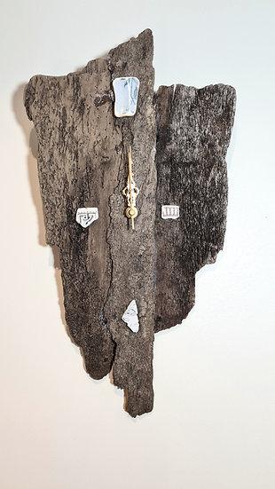Dark Driftwood Sea China Clock