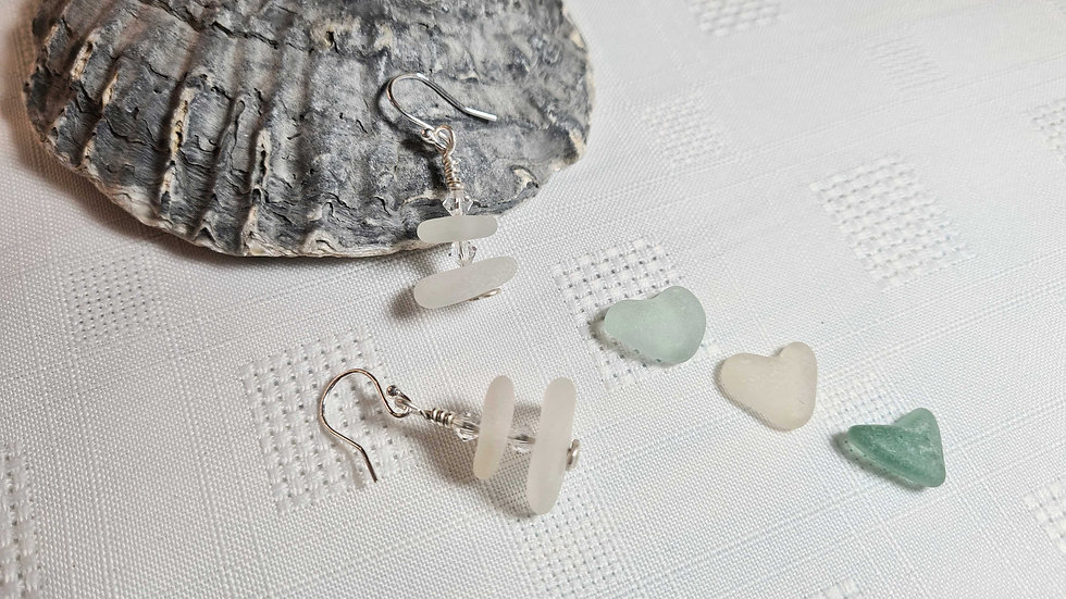 White Sea Glass & Crystal Dropper Earrings