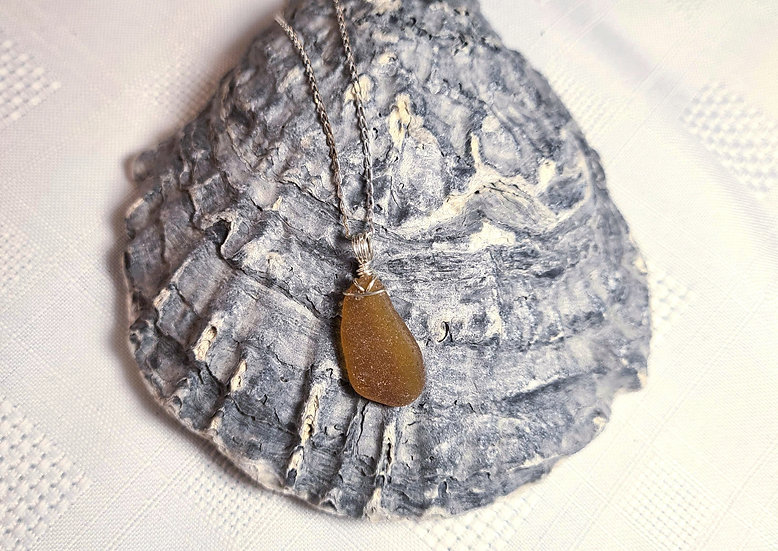Golden Brown Sea Glass Silver Bracelet