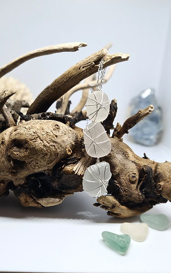 """Stacie"" 3 Drop White Sea Glass Necklace"