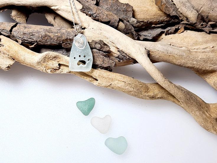 Aqua Sea Glass Paw Print Necklace