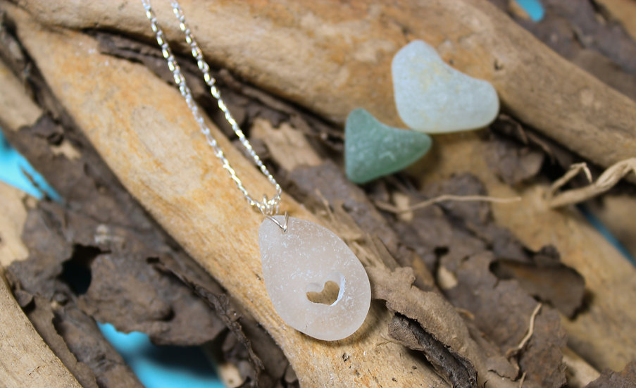 """White Sea Glass Bracelet """"Heart"""" Carved out"""