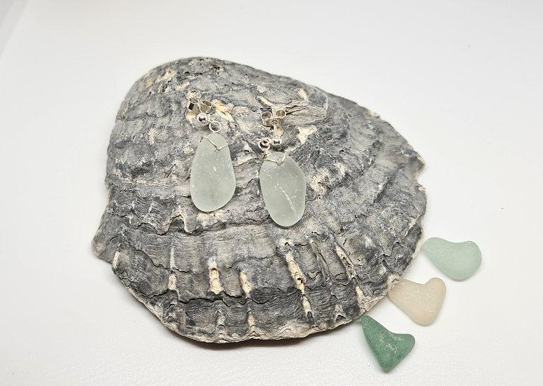 Aqua Sea Glass Dropper Stud Earrings