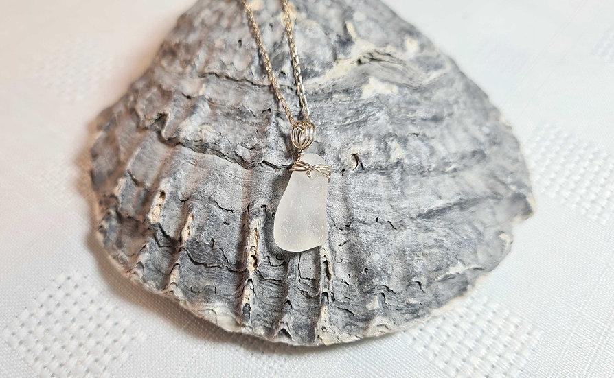 White Sea Glass Sterling Silver Bracelet