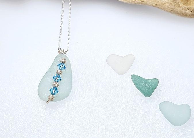 Aqua Sea Glass & Crystal Necklace