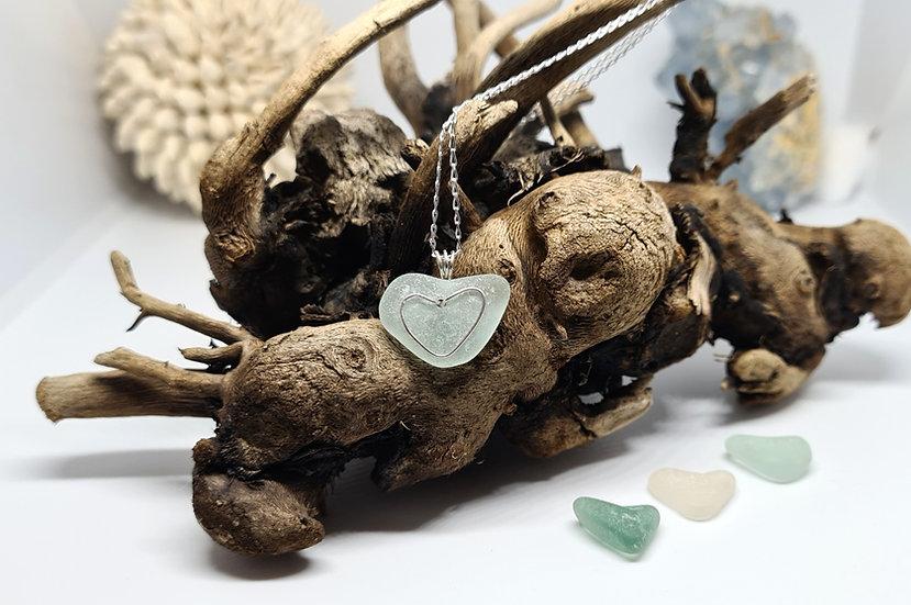 Aqua Sea Glass Heart Silver Necklace