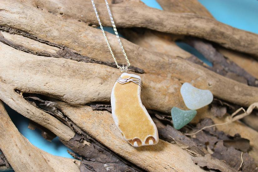 Orangey Brown Sea China Silver Necklace