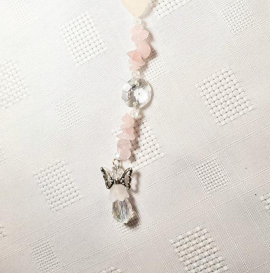 Rose Quartz & White Sea Glass Angel Suncatcher