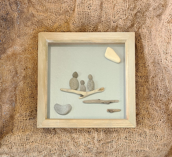 Family with 1 child Pebble Art Picture