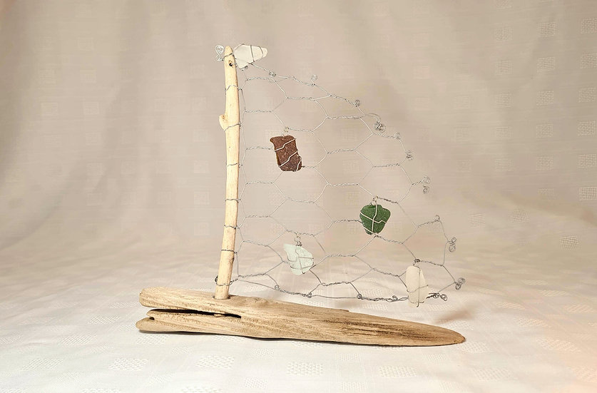 Driftwood, Sea Glass & Wire Boat