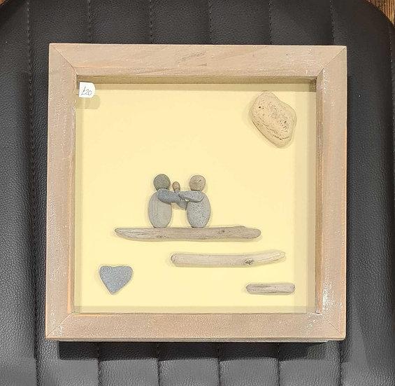 Family plus Baby Pebble Art Picture