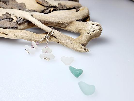 White Sea Glass Silver Earrings